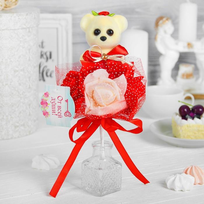 Букет «Я люблю тебя», 3 цветка, цвет красно-белый