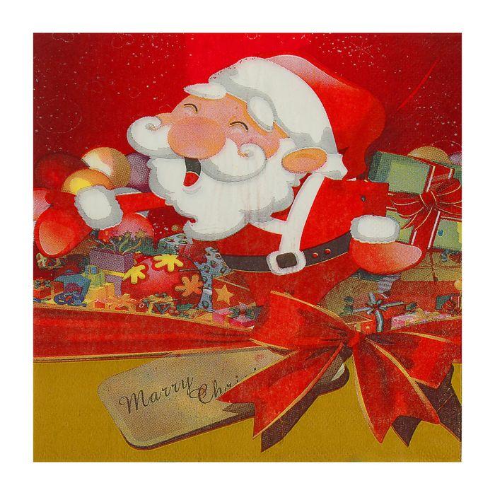 """Салфетки бумажные """"Дед Мороз"""" с бантиком , 33 х 33 см, набор 20 шт."""