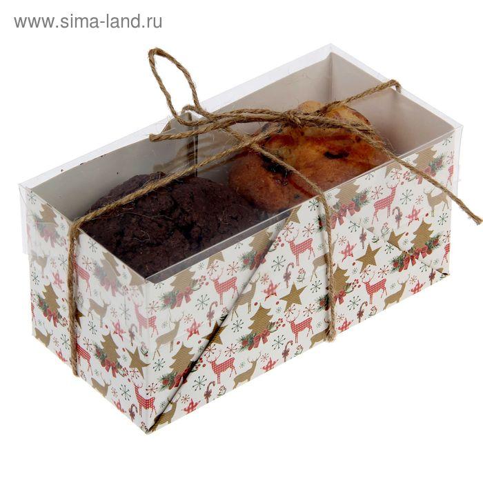 """Коробочка для кексов """"Рождественский паттерн"""", 8 х 16 х 7,5 см"""