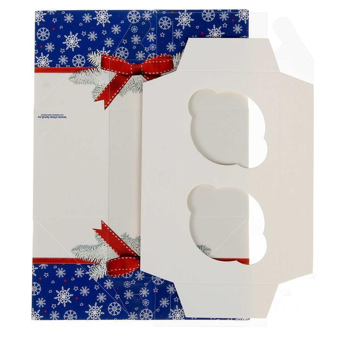 """Коробочка для кексов """"Новогодние снежинки"""", 8 х 16 х 7,5 см"""