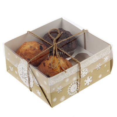 """Коробочка для кексов """"Новогоднее кружево"""", 16 х 16 х 7,5 см"""