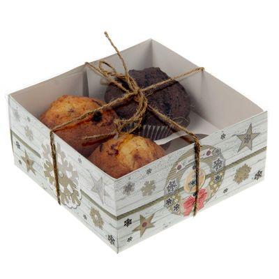 """Коробочка для кексов """"С любовью!"""", 16 х 16 х 7,5 см"""