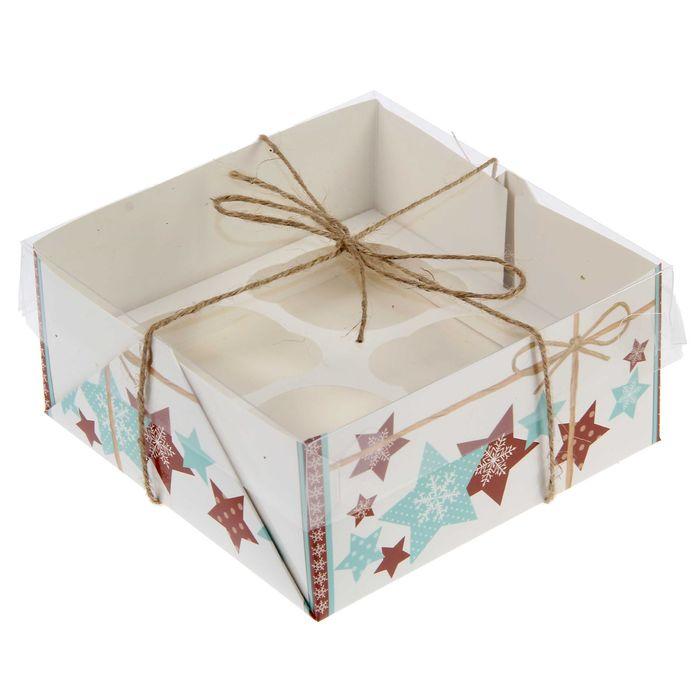 "Коробочка для кексов ""Имбирный праздник"", 16 х 16 х 7,5 см"