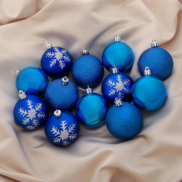 """Новогодние шары """"Снежинки"""" ассорти (набор 12 шт.)"""