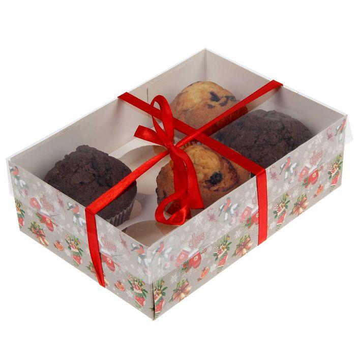 """Коробочка для кексов """"Теплого Нового года!"""", 16 х 23 х 7,5 см"""