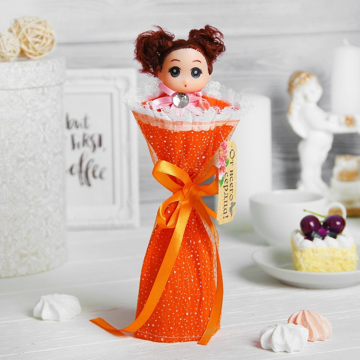 """Букет с игрушкой """"Для тебя"""", цвет оранжевый"""