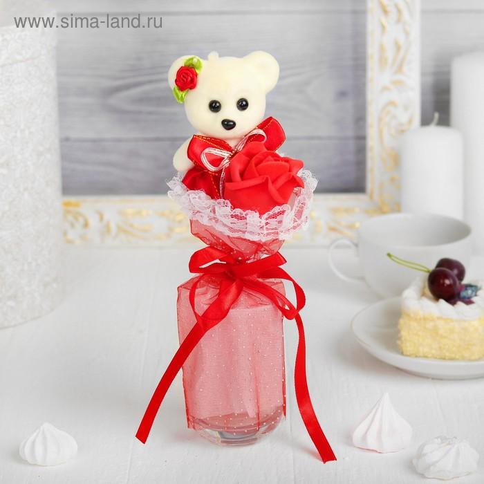"""Букет с мишкой """"Я люблю тебя"""" + красный цветок"""