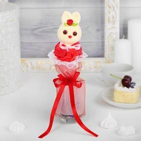 Букет «Я люблю тебя», с зайчиком, красный цветок