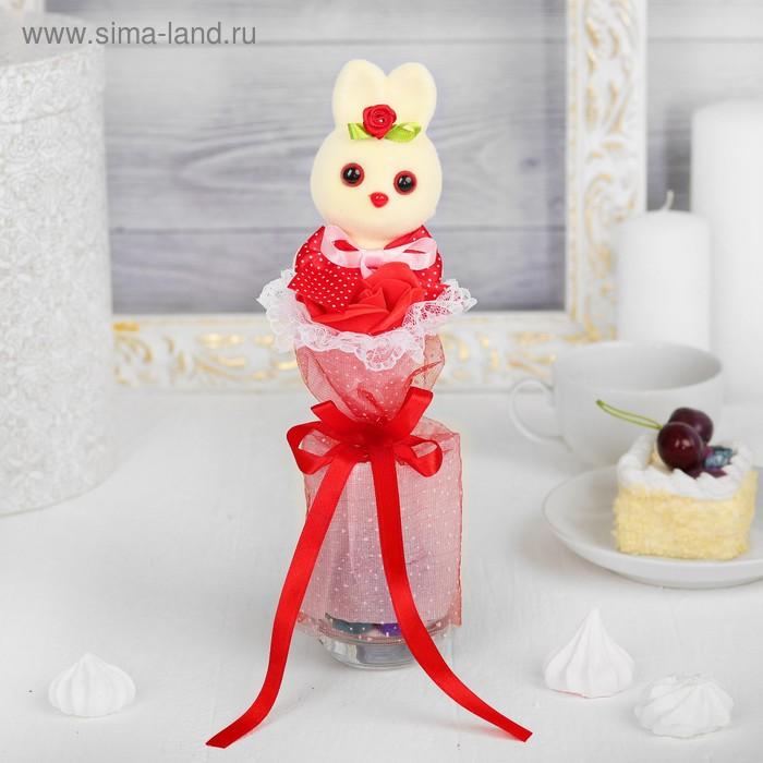 """Букет с зайчиком """"Я люблю тебя"""" + красный цветок"""