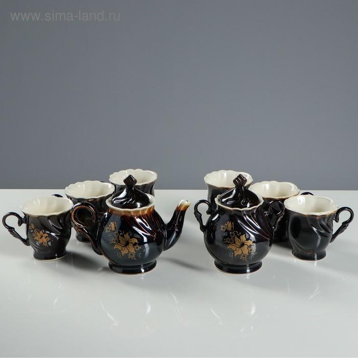 """Чайный набор """"Орфей"""" нарцисс, коричнево-белый, 8 предметов, 0,6 л/ 0,6 л/ 0,27 л"""