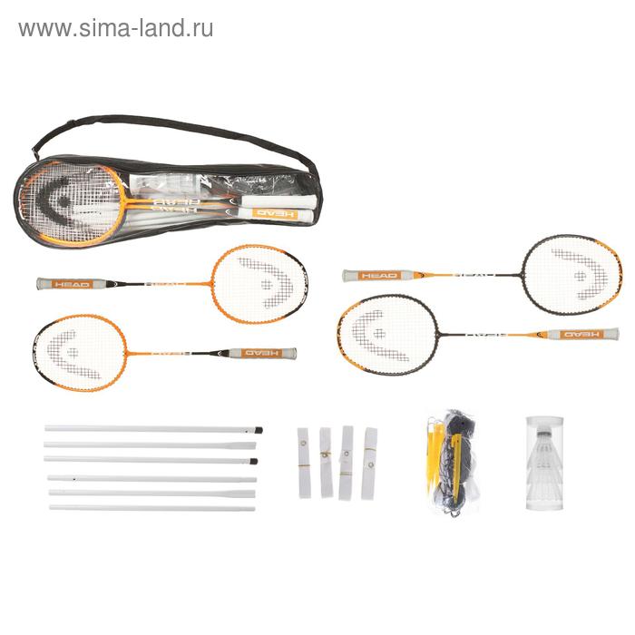 Ракетки бадминтон, набор, Head, 4 ракетки, 3 волана, сетка, стойка, сумка