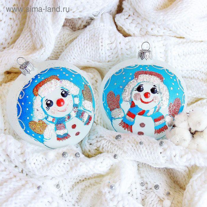 """Новогодний шар ручной работы """"Снеговик в ушанке"""" микс"""