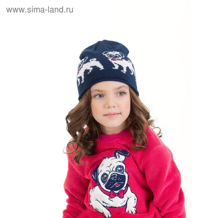 Шапка для девочек, размер 48-50, цвет синий GQ3006/2