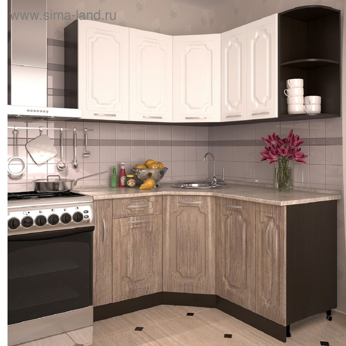 Кухонный гарнитур Чайное дерево и Белый 1400х1500