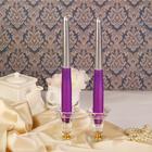 Набор свечей античных 2 штуки серебристо-сиреневый