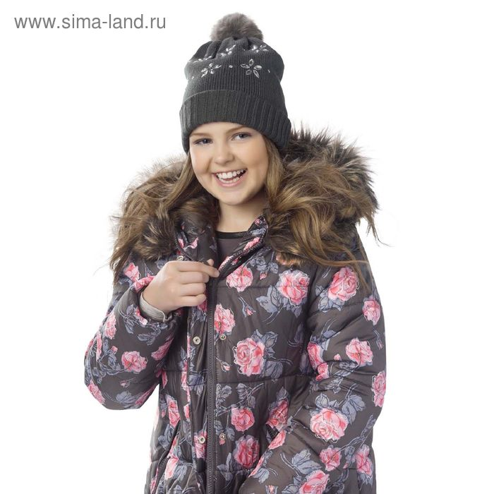 Шапка для девочек, размер 51-52, цвет темно-серый  GQ4005