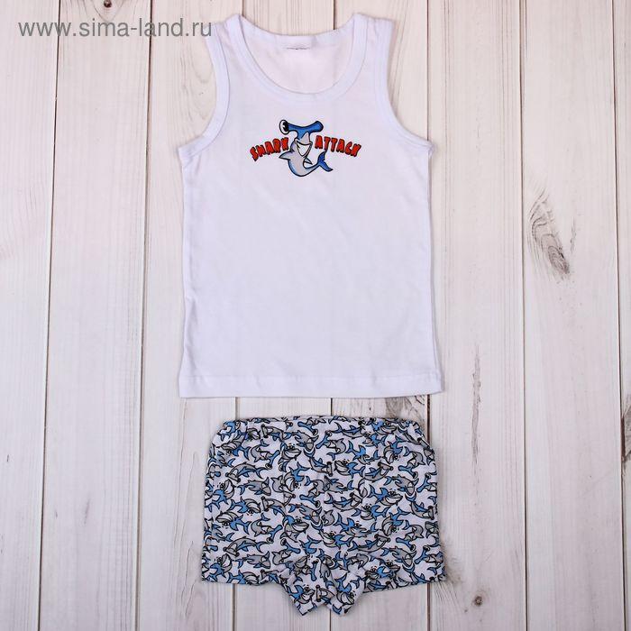 """Комплект для мальчика """"Молот-акула"""" (майка+трусы), рост 98-104 см (28), цвет белый (арт. Р208430_Д)"""