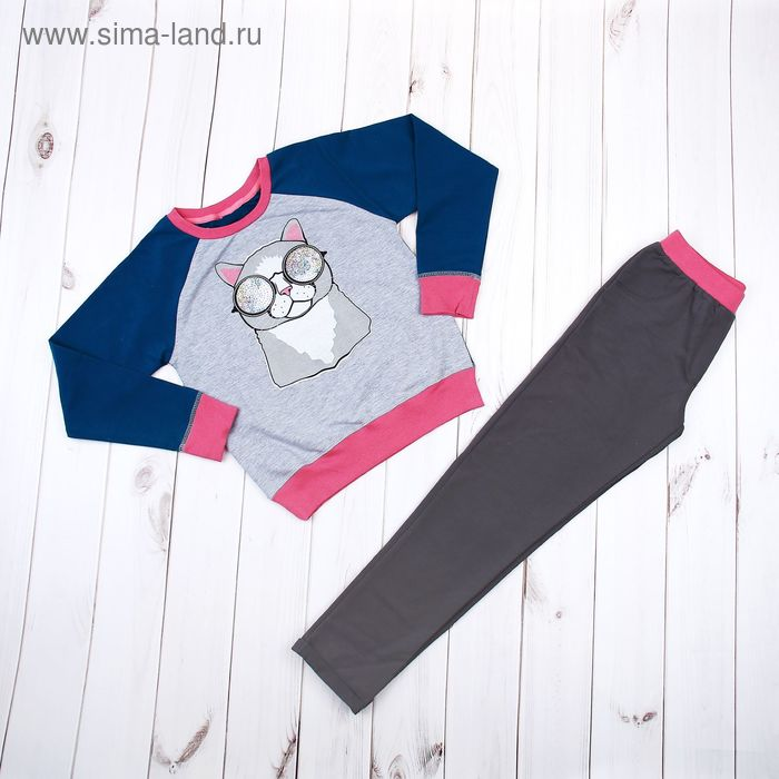 Комплект для девочки (толстовка, брюки), рост 134-140 см, цвет бирюзовый/серый (арт. 280-M_Д)