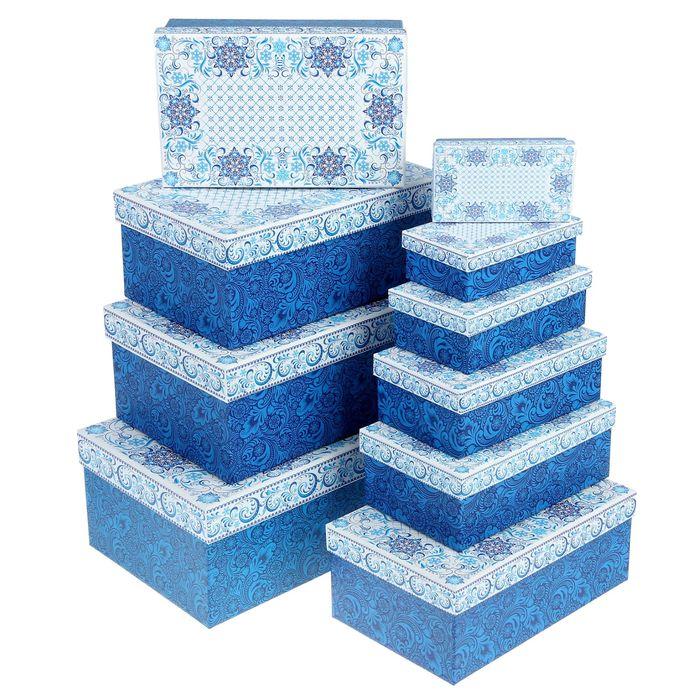 """Набор коробок 10 в1 """"Морозный Новый Год"""", 12 х 7 х 4 см - 32,5 х 20 х 12,5 см"""