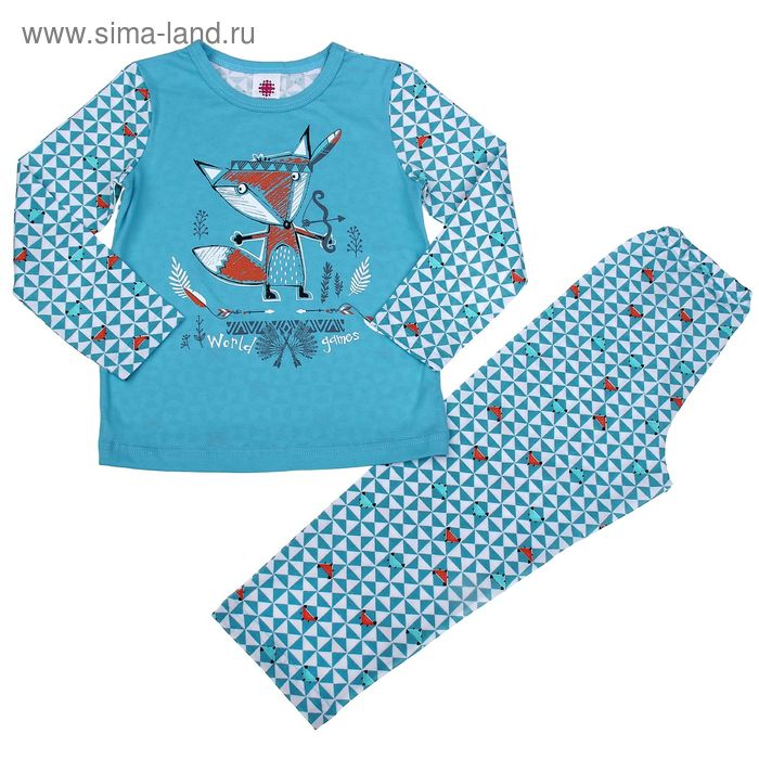 """Пижама для мальчика """"Лис охотник"""" (фуфайка+брюки), рост 122-128 см (32), цвет голубой (арт. Р207853_Д)"""