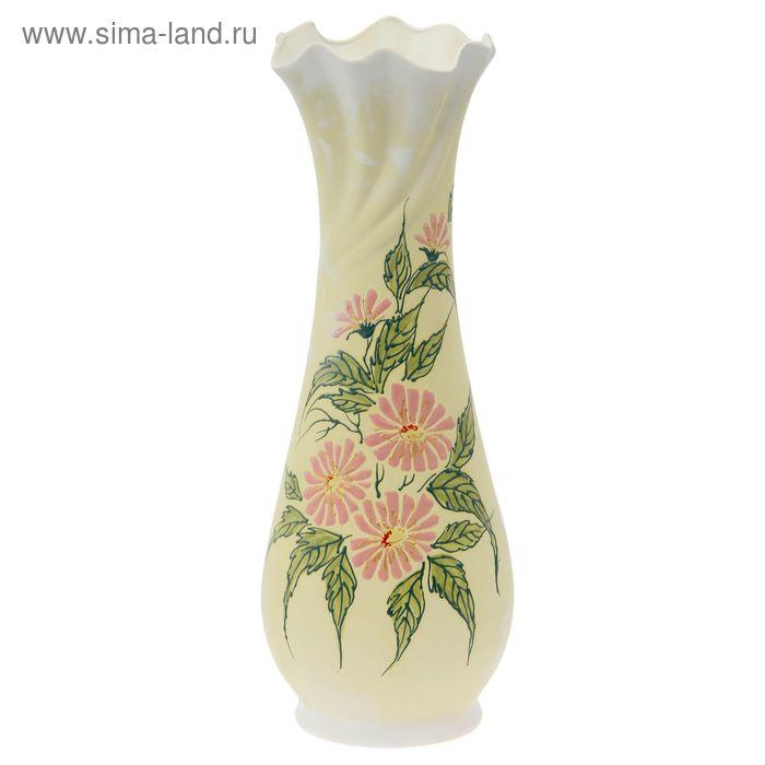 """Ваза напольная """"Вьюнок"""" ангоб, цветы"""