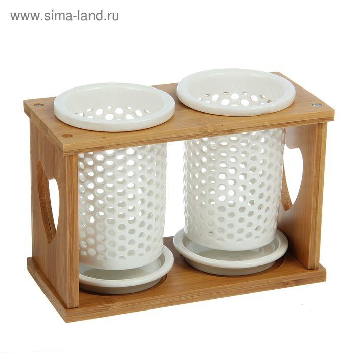 """Набор подставок для столовых приборов """"Эстет"""", рисунок соты, 20х10х15 см"""