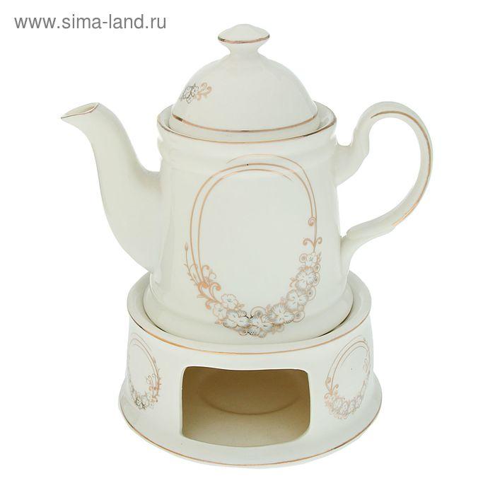 """Чайник заварочный на подставке 600 мл """"Цветочный венок"""", 18х15,5х19,5 см"""