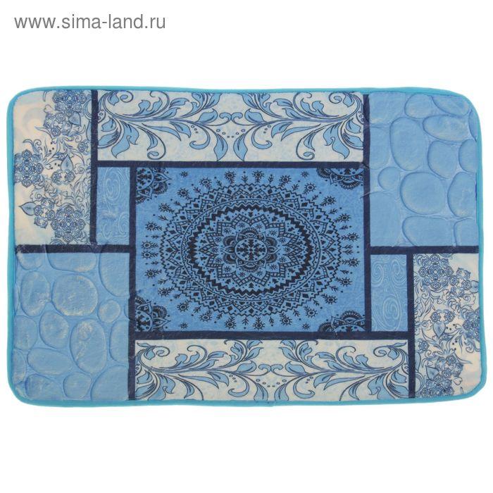 "Коврик для ванны 40х60 см ""Коллаж"", цвет голубой"