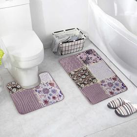Набор ковриков для ванны и туалета Доляна «Коллаж», 2 шт: 40×50, 50×80 см, цвет серо-розовый