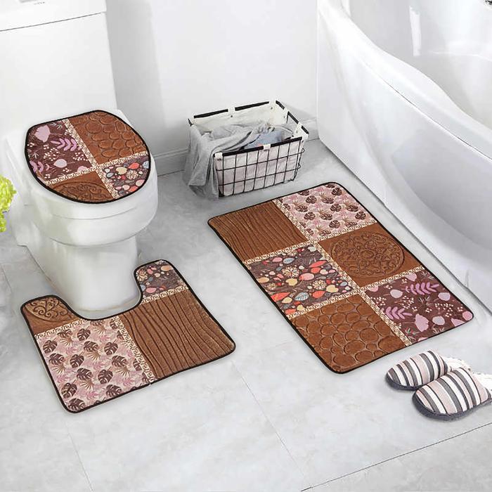"""Набор ковриков для ванны и туалета """"Коллаж"""" 3 шт, цвет коричневый"""