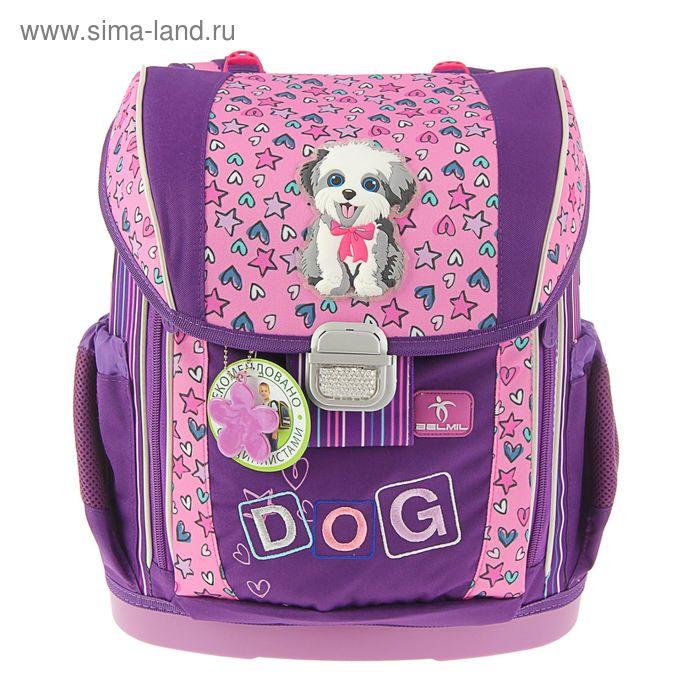 Ранец на замке Belmil 36*26*17 эргономичная спинка, для девочки, 404-20 Funny Dog