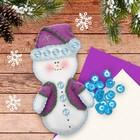 """Новогодняя ёлочная игрушка, Набор для создания подвески из фетра """"Снеговик"""""""