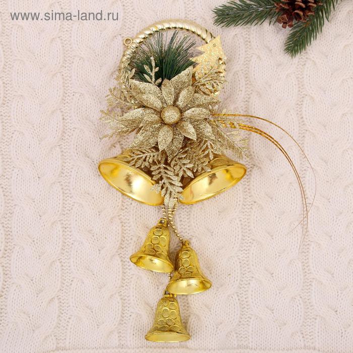 """Украшение новогоднее """"Колокольчики с веточкой и цветами"""" 11,5*32 см"""