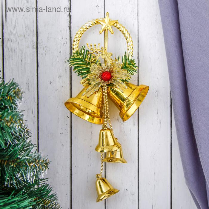 """Украшение новогоднее """"Колокольчики с кольцом и с оленем"""" 11,5*30 см"""