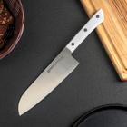 Нож кухонный сантоку Samura Harakiri, лезвие 17,5 см, белая рукоять, сталь AUS-8 - фото 308007429