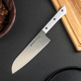 Нож SAMURA HARAKIRI сантоку, лезвие 17,5 см, ABS белый пластик, сталь AUS-8
