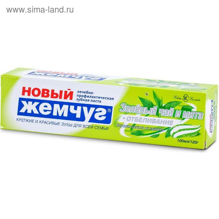 """Зубная паста """"Новый жемчуг: Зелёный чай и мята + отбеливание"""", 100 мл"""