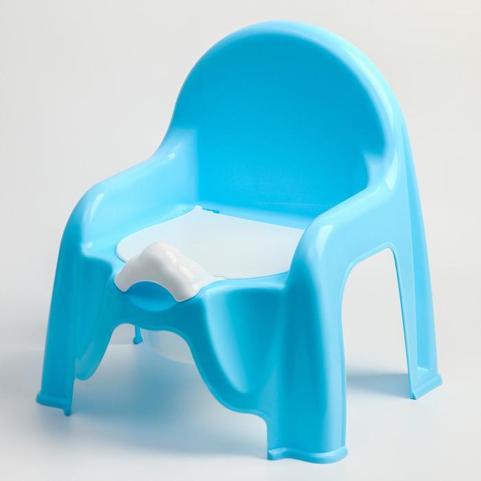 Горшок-стульчик с крышкой, цвет голубой