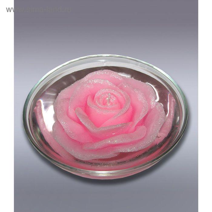 Свеча роза розовая плавающая