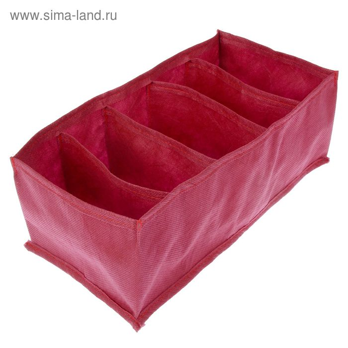 Органайзер для белья 5 ячеек, 16х32х11 см, цвет красный