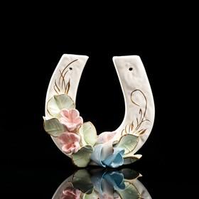 """Сувенир подвесной """"Подкова"""", цветная лепка, цветы, 12 см, микс"""
