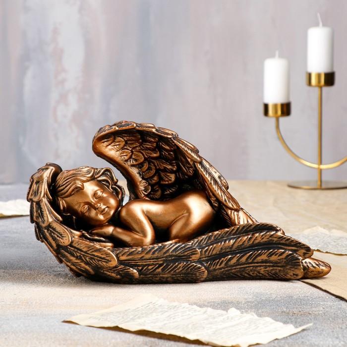 """Статуэтка """"Ангел в крыле"""" 17 см, бронзовый цвет - фото 1700219"""