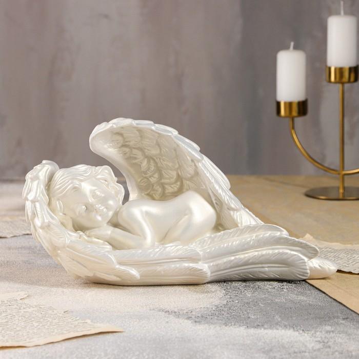 """Статуэтка """"Ангел в крыле"""" большая, перламутровая"""