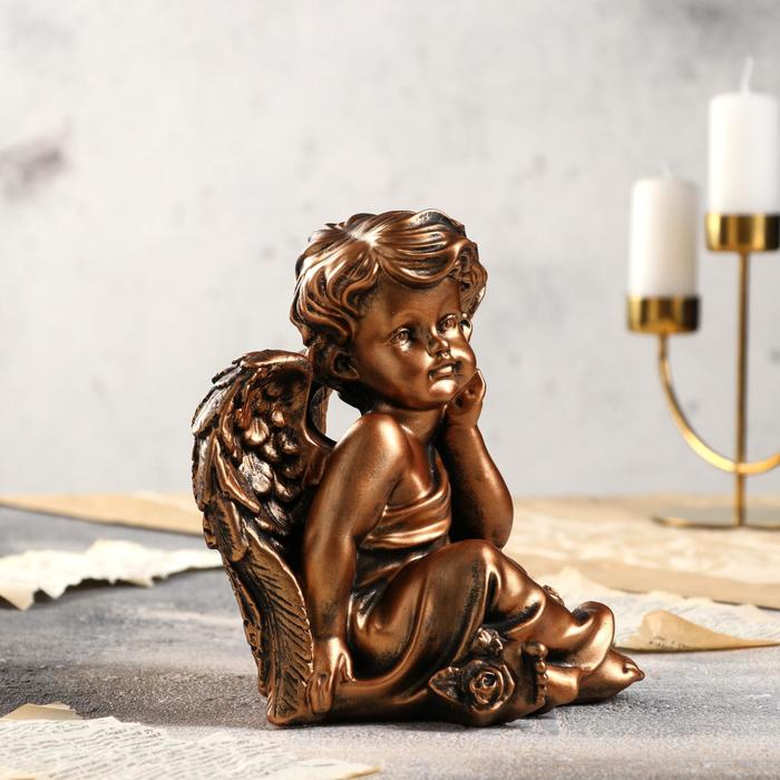 "Статуэтка ""Ангел думающий"" бронзовый цвет, 20 см"