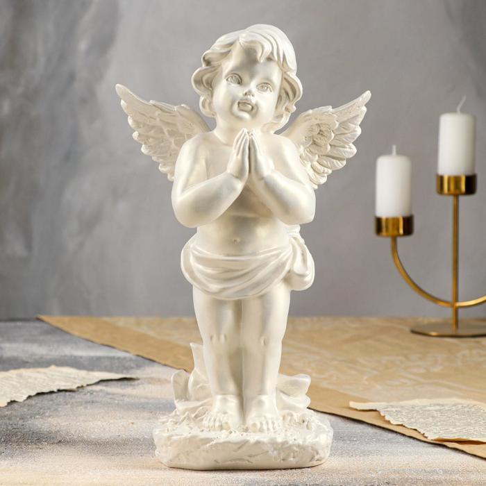 """Статуэтка """"Ангел в молитве"""" перламутровая, 33 см - фото 725940314"""
