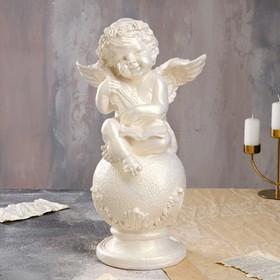 """Статуэтка """"Ангел на шаре со скрипкой"""", перламутровая, 49 см"""