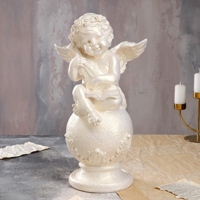 """Статуэтка """"Ангел на шаре со скрипкой"""" 49 см, перламутровая"""