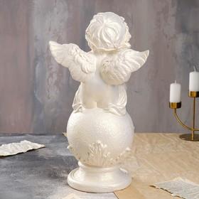 """Статуэтка """"Ангел на шаре со скрипкой"""" 49 см, перламутровая - фото 1700346"""