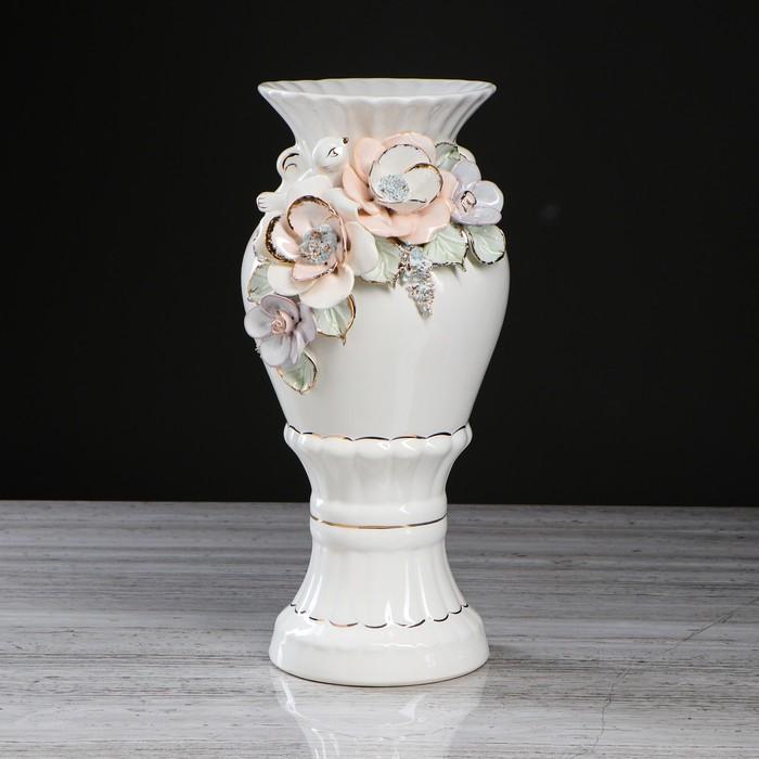 """Ваза настольная """"Верона"""", лепка, цветы, 37 см, микс, керамика"""