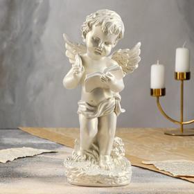 """Статуэтка """"Ангел с книгой"""" перламутровая, 34 см"""